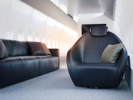 illuminator: Luxury airplane cabin with leather armchairs and sofa. 3d rendering