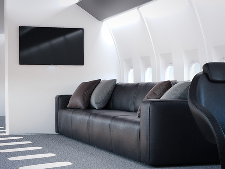 private airplane: Luxury private airplane interior with leather sofa. 3d rendering Stock Photo