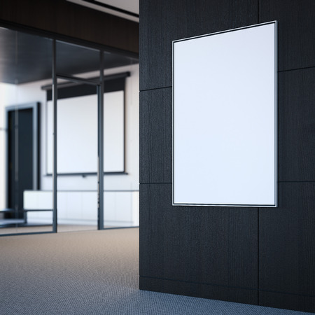 office wall: Empty white poster on the office gray wall. 3d rendering Stock Photo