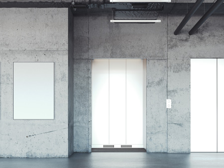 lift gate: Elevator with closed metal doors in concrete interior. 3d rendering Stock Photo