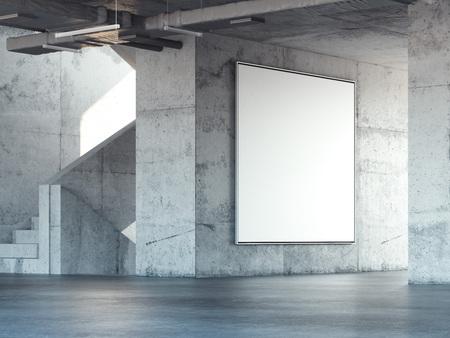 Concrete stairway with big blank square billboard. 3d rendering Archivio Fotografico