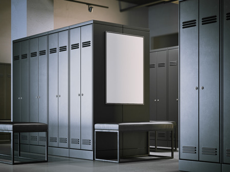 Blank poster in a modern locker room. 3d rendering 版權商用圖片