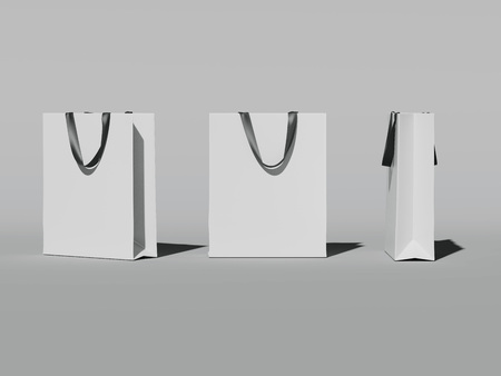 Three white shopping bags. 3d rendering Stock Photo