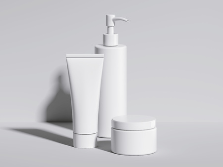 Set of beauty white hygiene containers. 3d rendering