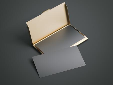 검은 색 빈 명함 황금 케이스입니다. 3 차원 렌더링 스톡 콘텐츠