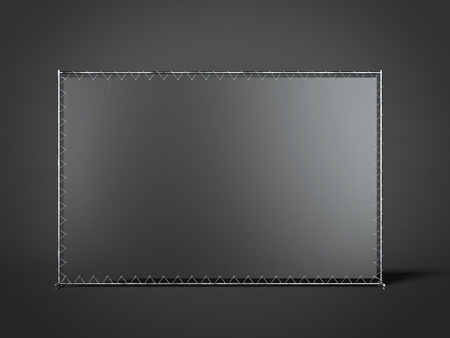 commercial sign: Black blank advertising stand. 3d rendering Stock Photo