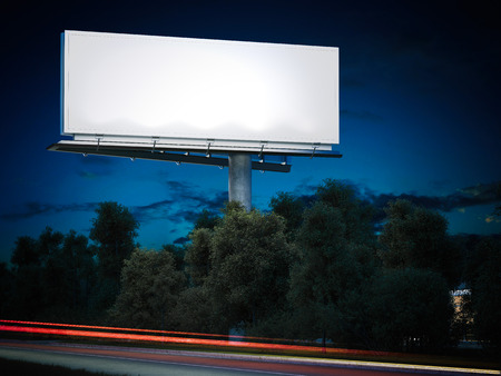 Blank billboard glowing at night. 3d rendering Banco de Imagens