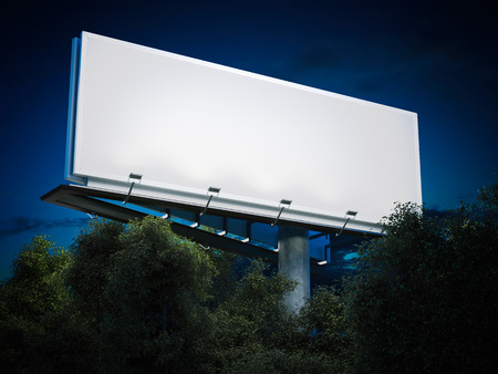 Blank billboard glowing. 3d rendering