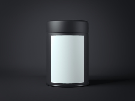 Black jar with white label. 3d rendering
