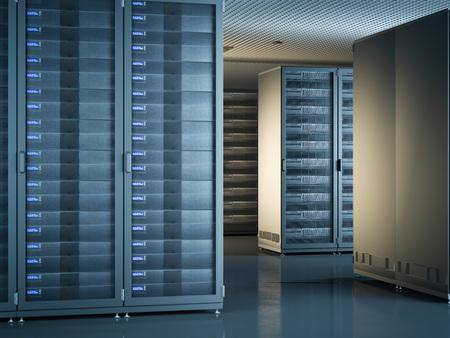 domains: Modern interior of server room. 3d rendering Stock Photo