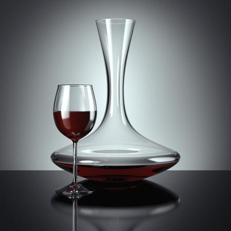 赤ワインのデキャンティング。3 d レンダリング