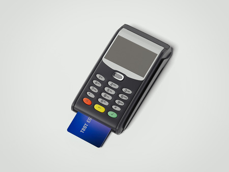 pos: POS portable credit card machine with credit card. 3d rendering