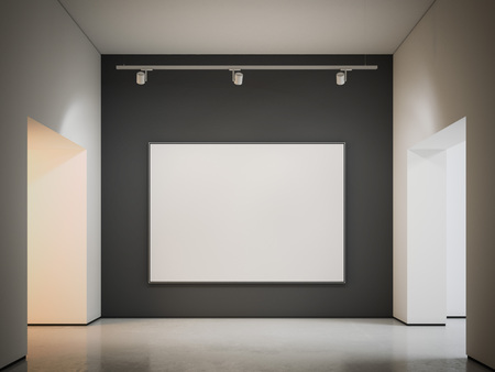 White canvas on the black wall. 3d rendering