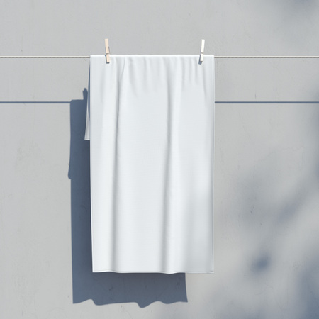 wrinkle: White textile. Banner with folds. 3d rendering