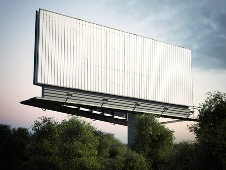 Blank outdoor advertising billboard in green trees. 3d rendering