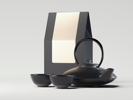 Black packaging paper bag with black teapot. 3d rendering