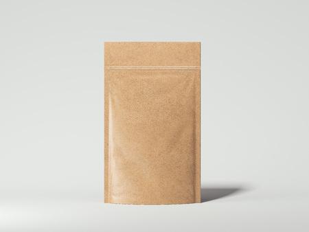 Blank packaging recycled kraft paper bag. 3d rendering