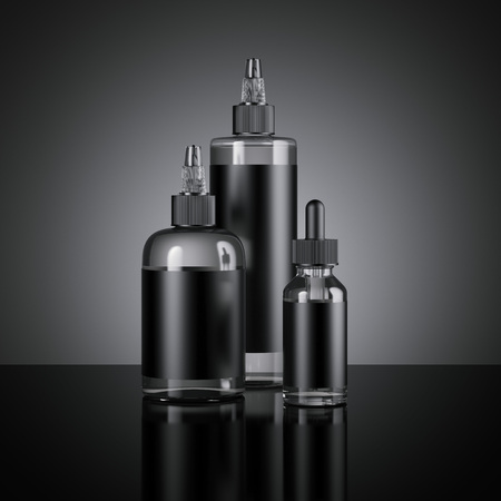 Set of vape juice bottles with black labels. 3d rendering