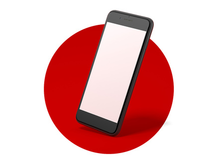 Black modern smartphone with blank screen in red circle. 3d rendering