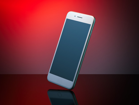 responsive design: White modern smartphone with black screen in red studio. 3d rendering Stock Photo