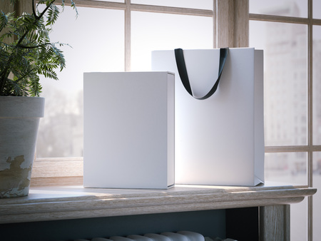 White box and shopping bag on a wooden window sill. 3d rendering