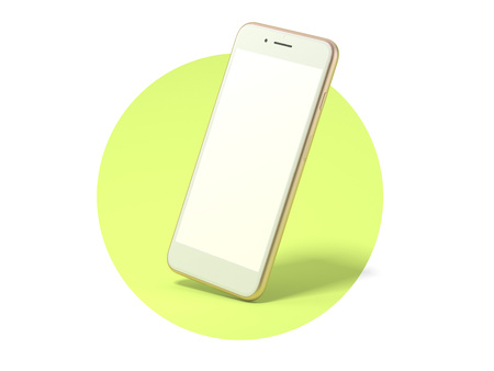 Golden modern smartphone with blank screen in green circle. 3d rendering Stock Photo