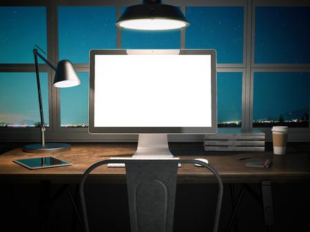 Lugar de trabajo con pantalla en blanco en una mesa de madera en la noche. Representación 3D