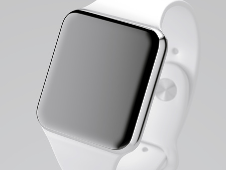 White smart watch isolated on bright background. 3d rendering