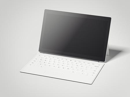 Tableta blanca abierta con teclado. Representación 3D Foto de archivo