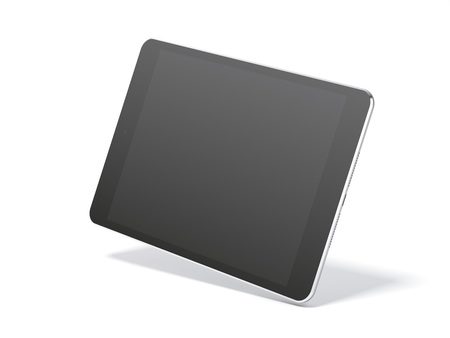 Black tablet isolated on white background. 3d rendering
