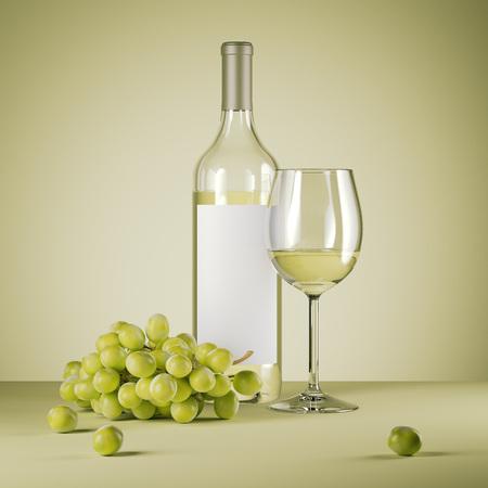 白ワインのボトルと新鮮なブドウ。3 d レンダリング