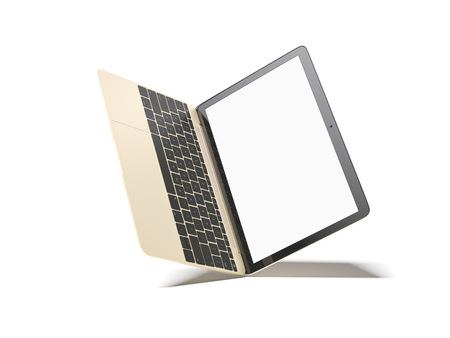 lcd: Opened golden laptop with blank screen. 3d rendering Stock Photo