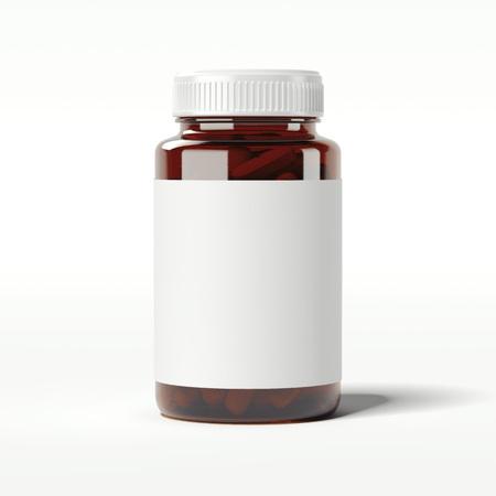 Bruine fles met pillen. 3D-rendering Stockfoto