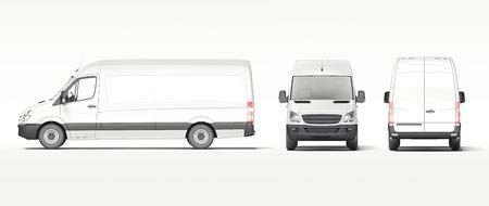 白い産業のバンは明るい背景に分離します。3 d レンダリング 写真素材