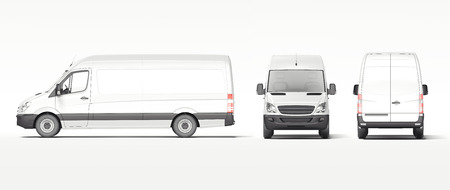 White industrial van isolated on bright background. 3d rendering Imagens
