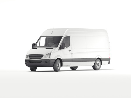 White industrial van. 3d rendering Фото со стока