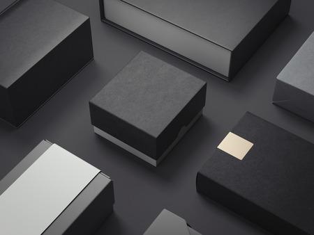 Zwarte reeks luxepakketten. 3D-rendering Stockfoto