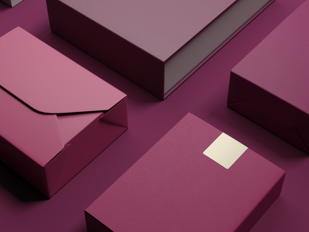 Red set of luxury packages. 3d rendering