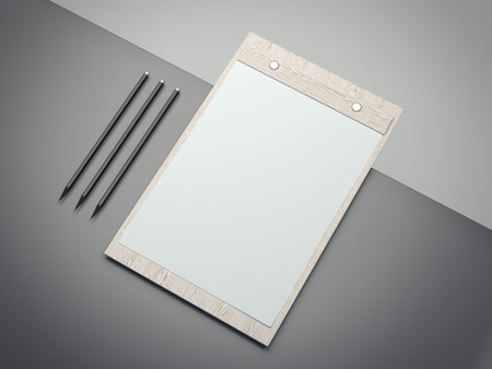 orderly: Wooden clipboard with blank paper sheets. 3d rendering