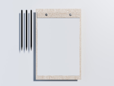 Wooden clipboard with paper sheets. 3d rendering