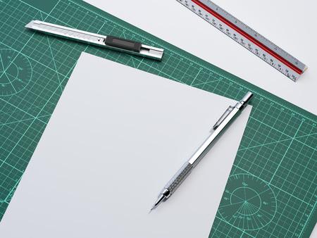 White paper sheet on cutting mat. 3d rendering Фото со стока