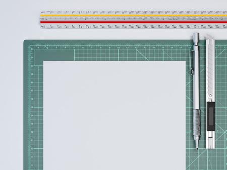 Ruler and paper sheet on green cutting mat. 3d rendering