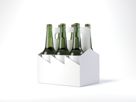 White beer package with six bottles. 3d rendering