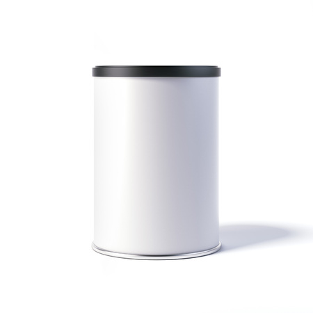 White tin can with black cap. 3d rendering Archivio Fotografico