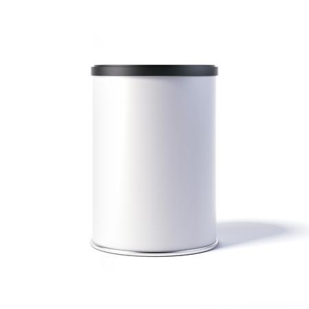 Witte blikblik met zwarte pet. 3D-rendering Stockfoto