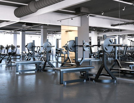 Modern gym with bench press. 3d rendering Imagens