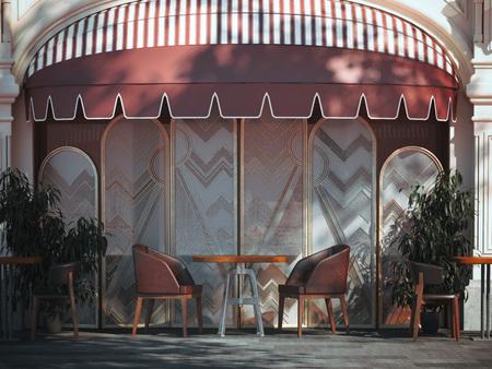 Street cozy restaurant. 3d rendering