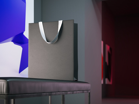 Blank shopping bag on the bench. 3d rendering