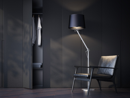 Modern wardrobe room with black leather chair. 3d rendering