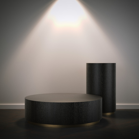 Two wooden podiums in modern room. 3d rendering Stock Photo